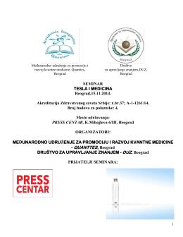 SEMINAR TESLA I MEDICINA Beograd,15.11.2014. Akreditacija