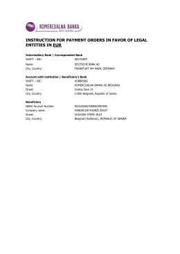 Uputstvo za uplatu (EUR)
