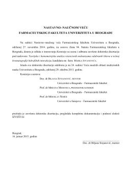 izveštaj komisije - Farmaceutski fakultet