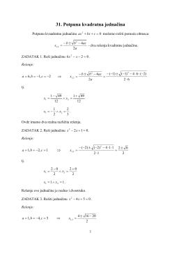 31. Potpuna kvadratna jednačina