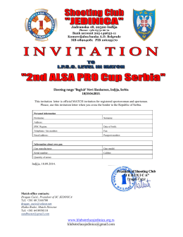 "invitation letter - Shooting club ""JEDINICA"", Indjija"