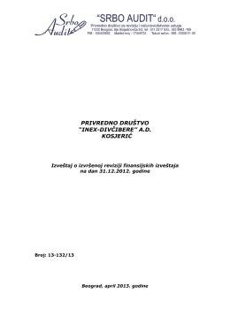 Izveštaj o izvršenoj reviziji finansijskih izveštaja na dan 31.12.2012