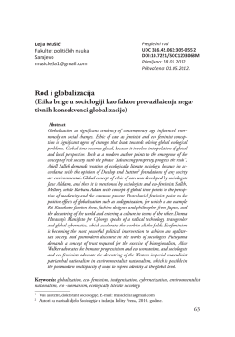 Rod i globalizacija - Sociological discourse