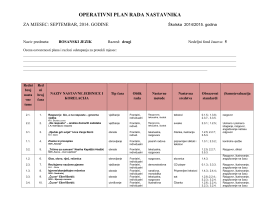 Operativni plan BOSANSKI JEZIK 2. razred