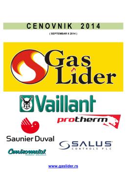 Cenovnik Gas Lider ( SEPTEMBAR 2014)