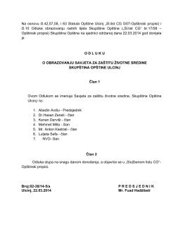 Sl.list CG 5/07-Opštinski propisi) i čl.10 Odluke obrazovanju radnih t