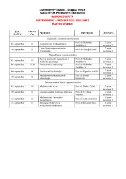 Preduzetnicki biznis Master programi Septembar Oktobar 2012 ispitni