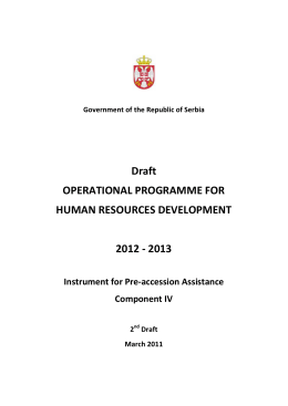 Draft OPERATIONAL PROGRAMME FOR HUMAN RESOURCES