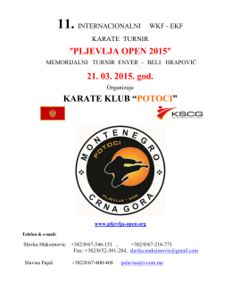 ″PLJEVLJA OPEN 2015″ 21. 03. 2015. god. KARATE KLUB