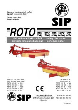 Roto 175D, 180DS, 215D, 220DS, 255D