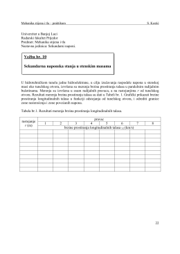 Vežba br. 10 Sekundarna naponska stanja u stenskim masama