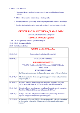 PROGRAM SAVETOVANJA GAS 2014.
