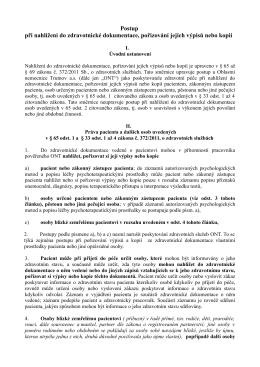 Směrnice o nahlížení do zdravotnické dokumentace