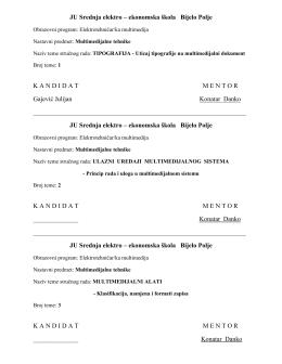 elektrotehničar multimedija iv - JU Srednja elektro – ekonomska škola