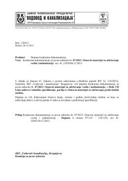 Konkursna dokumentacija za javnu nabavku br. 07/2013
