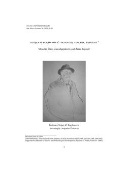 STOJAN M. BOGDANOVI ´C – SCIENTIST