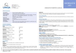 INFORMAČNÍ LIST - Cestovní pojištění