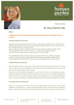 Profil kouče - Bc. Anna Pedretti