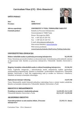 Curriculum Vitae (CV) - Elvis Ahmetović