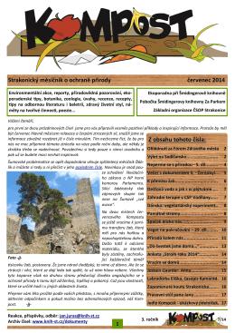Strakonický měsíčník o ochraně přírody červenec 2014 Z obsahu