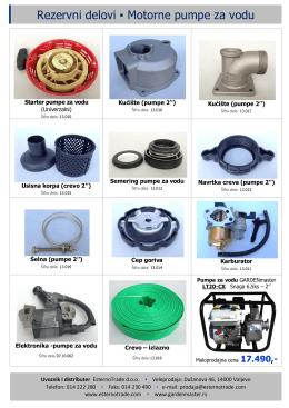 Rezervni delovi Motorne pumpe za vodu
