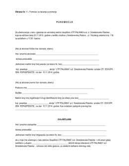 Obrazac br. 1 – Formular za davanje punomoćja