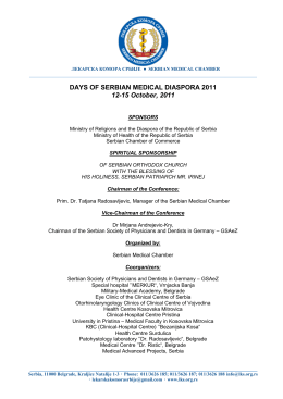 "final program "" days of serbian medical diaspora 2011."""