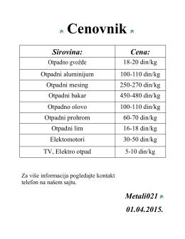 Cenovnik - Metali 021