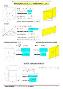 Formule za površinu i zapreminu geometrijskih tijela