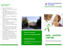 NON – HOČKIN LIMFOM - Institut za onkologiju Vojvodine