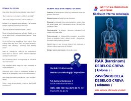 RAK (karcinom) DEBELOG CREVA - Institut za onkologiju Vojvodine