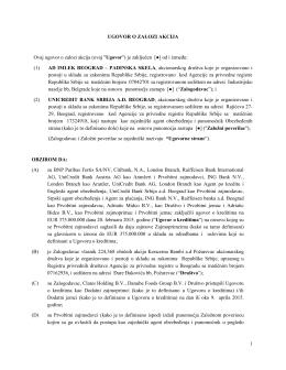 Prilog 5 – Nacrt Ugovora o zalozi akcija