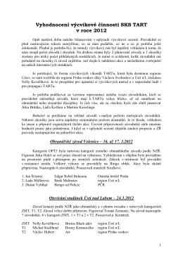 vyhodnocení výcvikové činnosti SKS TART za rok 2012