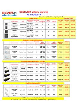 CENOVNIK solarne opreme od 17/04/2015