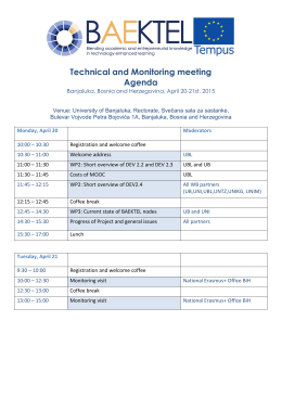 Technical and Monitoring meeting Agenda