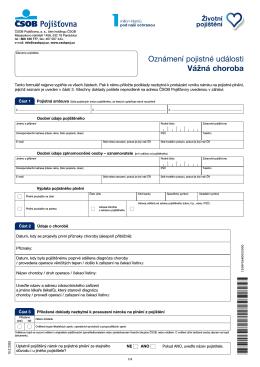 Formulář oznámení pojistné události - vážné