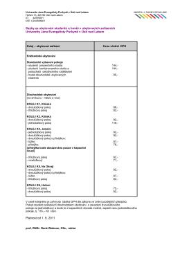 Sazby za ubytování v ubytovacích zařízeních Univerzity Jana