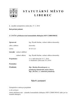 Záměr přefinancování komunálního dluhopisu ISIN CZ0001500102