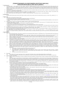 Všeobecné obchodní a platební podmínky za předměty dodávky