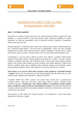 VOLEBNÍ ZÁVAZKY ČSSD VLAŠIM do komunálních voleb 2014