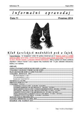 Zpravodaj KMP Č. 71 - Klub karelských medvědích psů a lajek