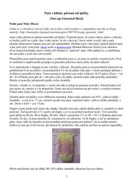 Pata s klínky pletená od špičky (Toe-up Gusseted Heel)