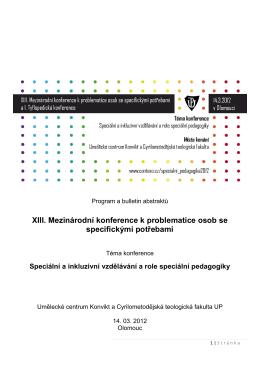 Program a bulletin abstraktů XIII. Mezinárodní
