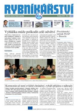 Noviny Rybníkářství 12. číslo - Rybářské sdružení České republiky