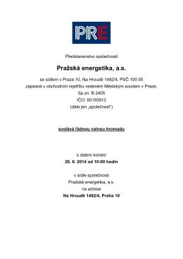 Pozvánka na řádnou valnou hromadu dne 26. 6. 2014