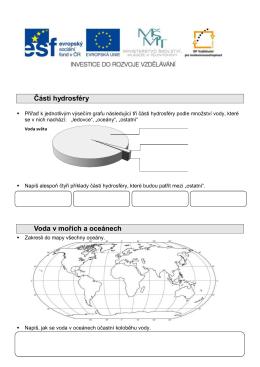 Části hydrosféry Voda v mořích a oceánech