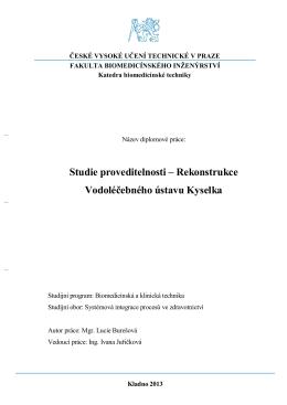 Studie proveditelnosti – Rekonstrukce Vodoléčebného ústavu Kyselka