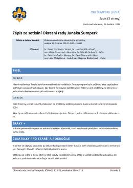 Zápis ze setkání Okresní rady Junáka Šumperk
