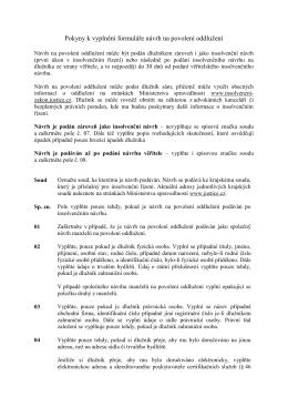 Pokyny k vyplnění formuláře návrh na povolení oddlužení