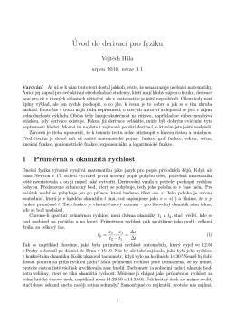 ´Uvod do derivac´ı pro fyziku